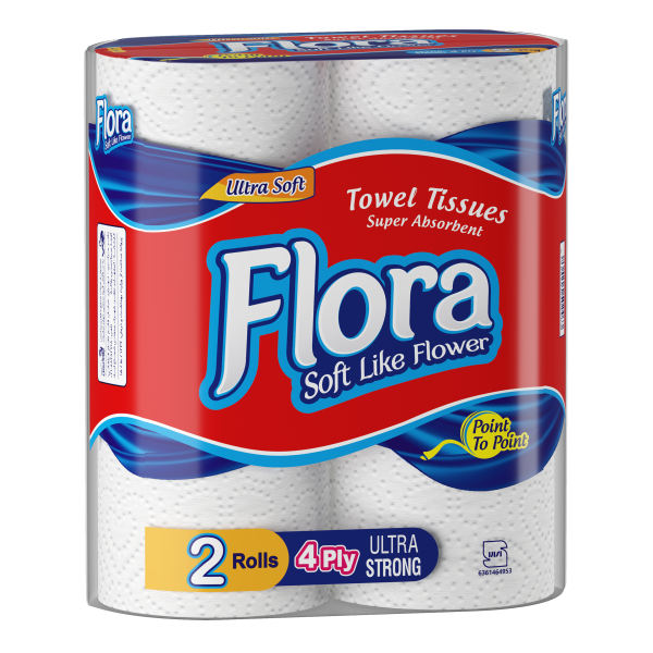 دستمال توالت ۲ رول فلورا
